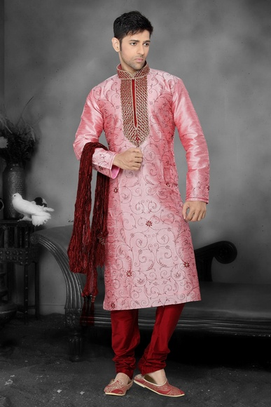 Pink Color Wedding Kurta Payjama