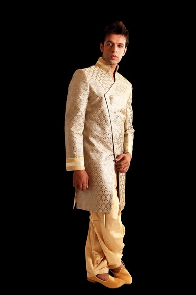 Gold With Silver Indowestern Sherwani BL1015