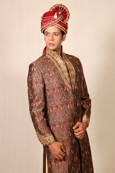 Trendy Highneck Brown Sherwani BL2014