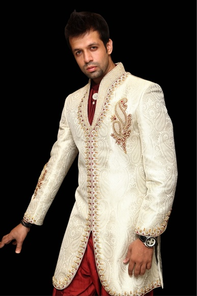 Off White Trendy Short Length Sherwani BL2001