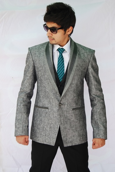 Shawl Lapel Linen Wedding Suit BL3026