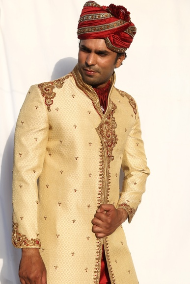Kedia And Highneck Style Gold Sherwani BL2019