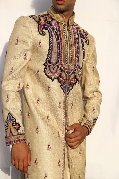 Maharaja Design Gold Cream Sherwani BL2020