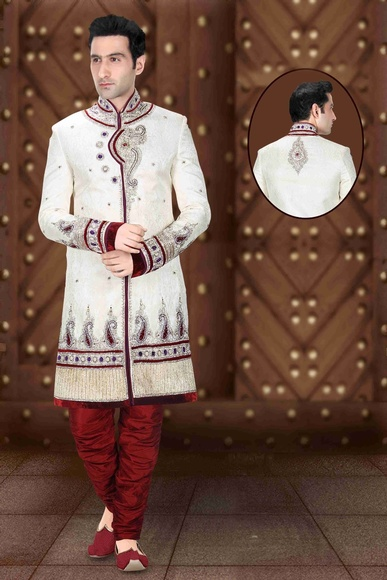 Mens Brilliant Look Cream Royal Sherwani