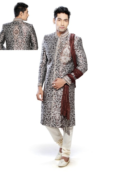 Astonishing White Brown Color Festive Royal Sherwani For Men