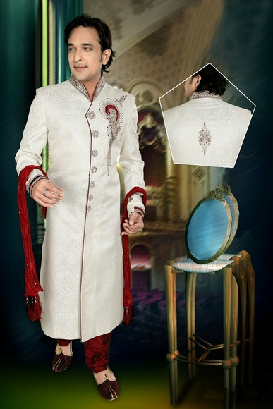 Antique White Color V Neck Royal Sherwani