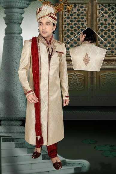 Splendid Mens Brown Color Royal Sherwani