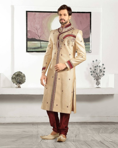 Ruffled Beige Color Wedding Look Royal Sherwani