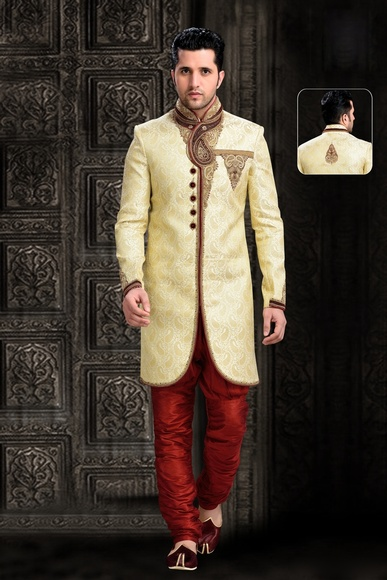 Cream Elegant Royal Sherwani For Sangeet And Wedding