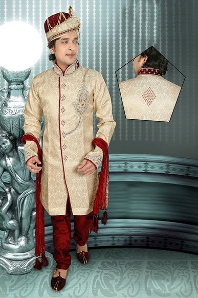 Mens Pleasant Cream Brown Color Royal Sherwani