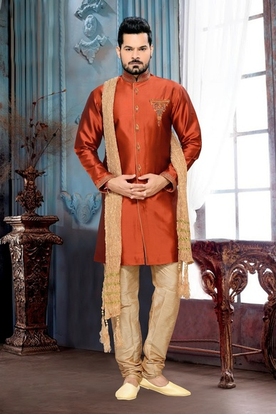 Extra Ordinarry Look Mens Orange Color Royal Sherwani