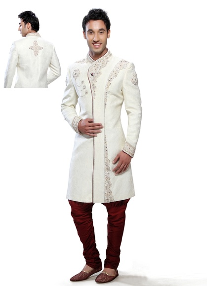 Mens Trendsetting White Color Royal Sherwani