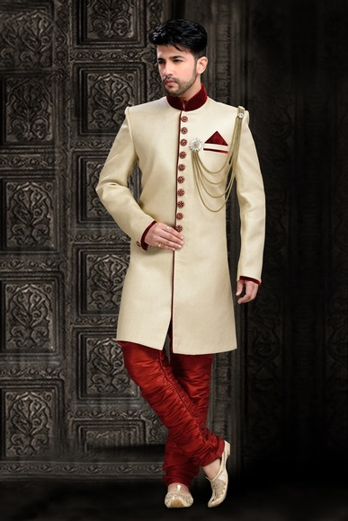 Attractive Look Creamethnic Royal Sherwani For Festivals