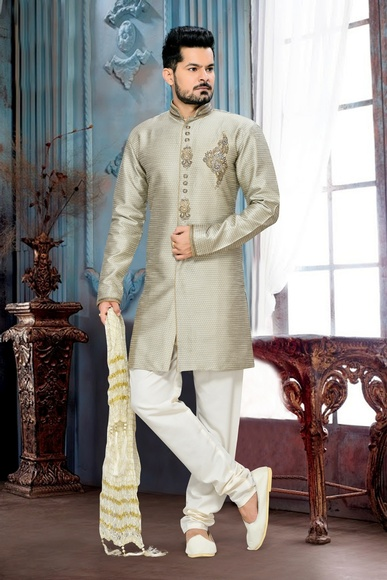 Dashing Mens Royal Sherwani In Grey Color