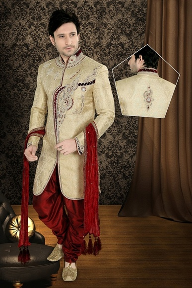 Stupefying Mens Brown Color Wedding Royal Sherwani