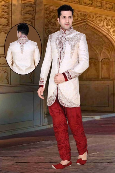 Mens Glamourous White Color Wedding Royal Sherwani