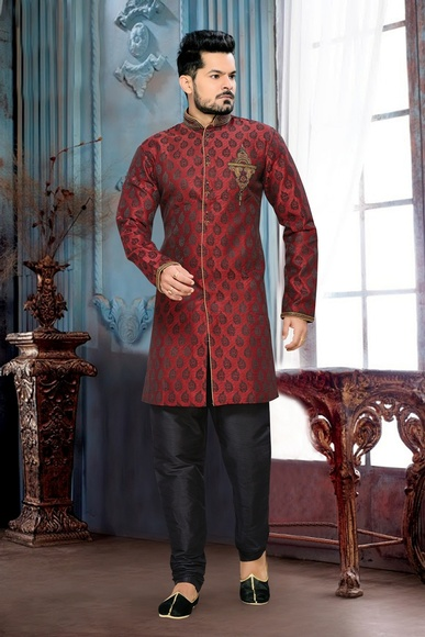 Flattering Your Look Mens Red Color Royal Sherwani