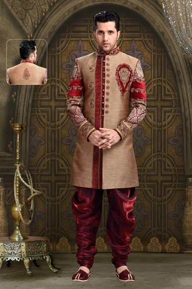 Ethnic Living Mens Brown Color Royal Sherwani