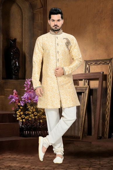 Lovely Jamewar Mens Cream White Color Royal Sherwani