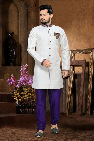 Unique Designer Collection Mens White Color Royal Sherwani