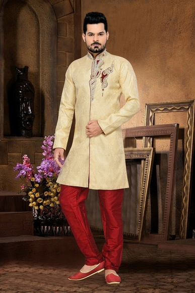 Fabulous Jamewar Cream Color Royal Sherwani