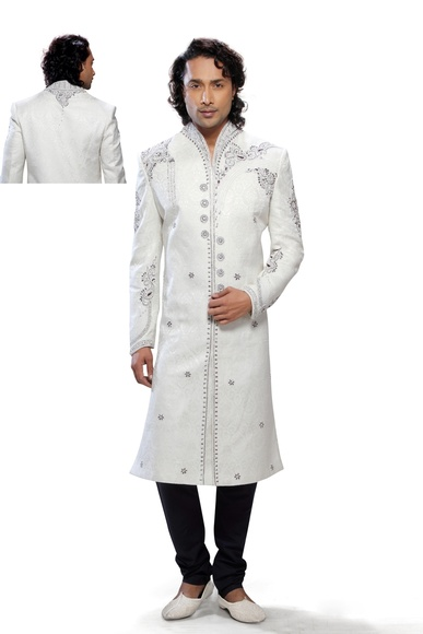 Mens Serene Lemon Cream Color Royal Sherwani For Wedding