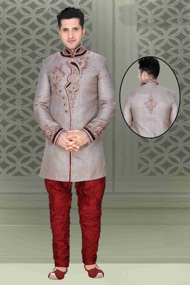 Mens Classical Ethnic Grey Color Royal Sherwani