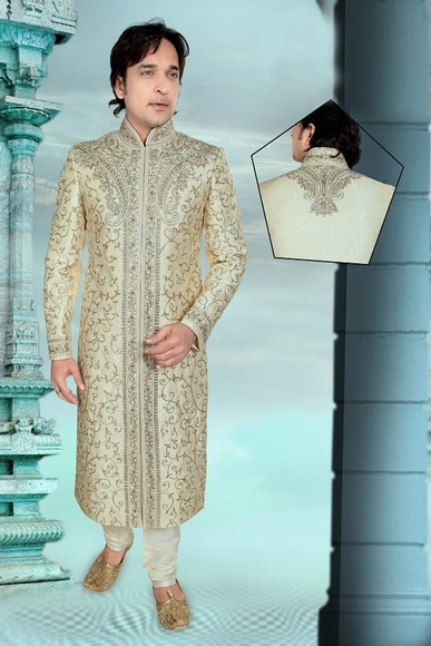 Mens Brown Color Wedding And Festive Royal Sherwani