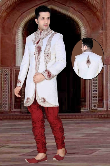 Mens Glamourous White Color Royal Sherwani