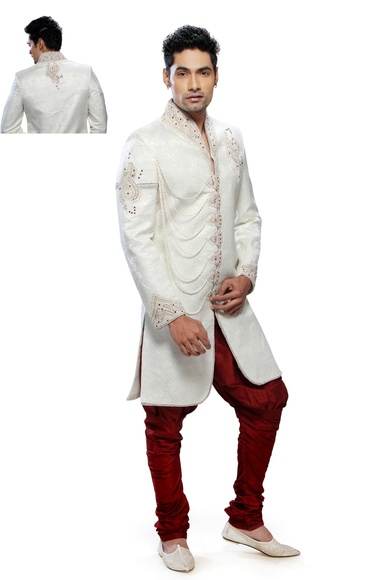 Mens Beautiful Cream Festive Seasons Royal Sherwani