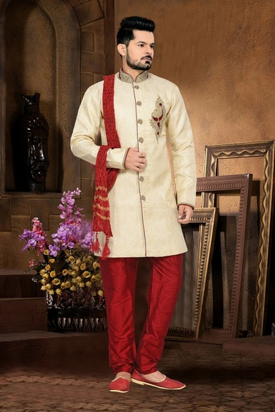 Perfect Banarasiloook Cream Color Royal Sherwani