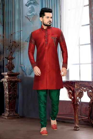 Charm Your Look Mens Red Royal Sherwani