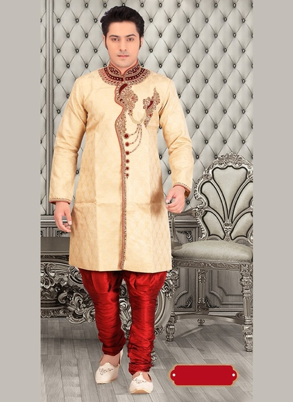Trendy Stylish Look Mens Beige Color Royal Sherwani