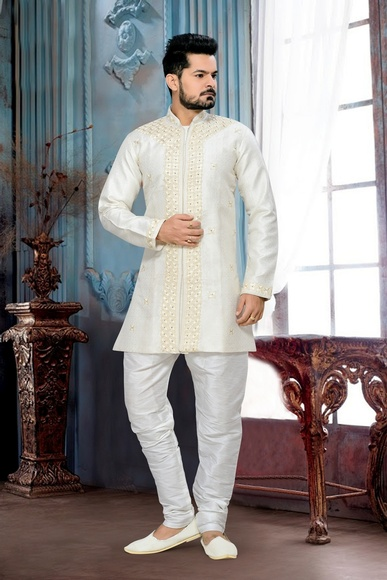 Charming Look Mens White Color Royal Sherwani