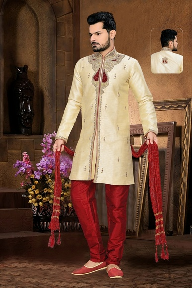 Beautiful Look Cream Color Royal Sherwani