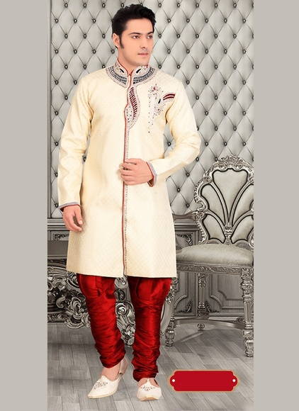 Attractive Look Mens Chinese Collar Cream Royal Sherwani