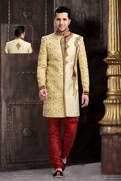 Voguish Chinese Collar Cream Royal Sherwani