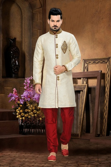 Attractive Unique Designer Collectioncream Color Royal Sherwani