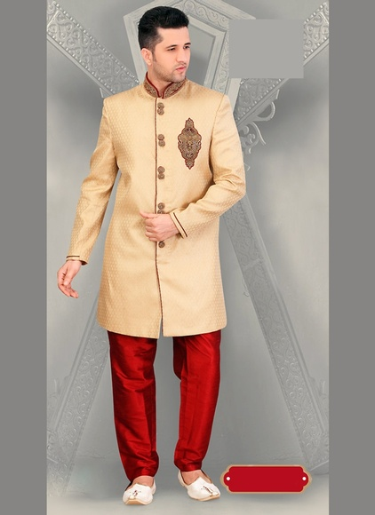 Elite Ethnic Beige Attractive Look Royal Sherwani