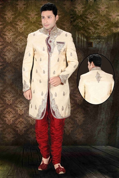 Mens Stupefying Brown Color Royal Sherwani