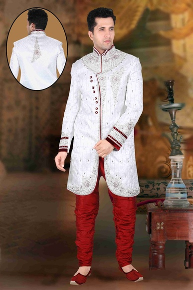 Beautiful White Color Sherwanifor Mens Wedding