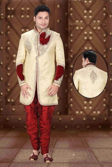 Mythical Fawn Ethnic Look Cream Color Royal Sherwani