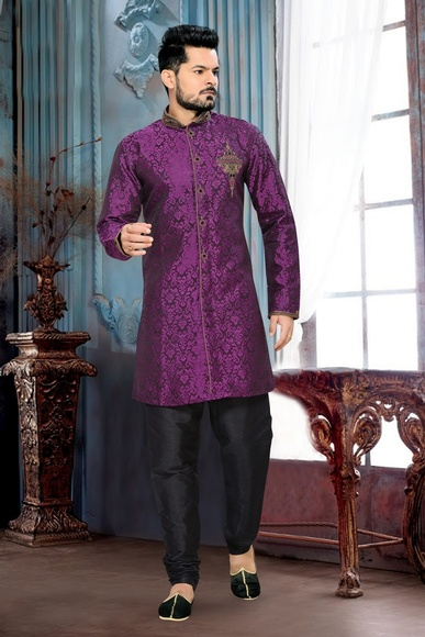 Delightful Wedding Violet Color Royal Sherwani