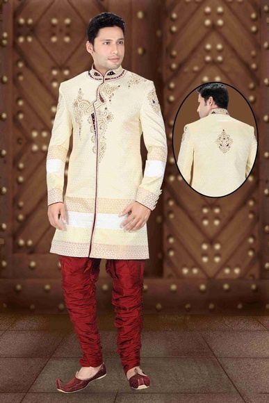 Mens Pleasant Cream Color Royal Sherwani