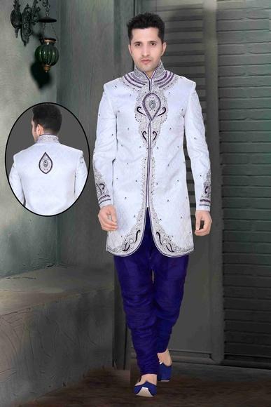 Prince Look White Color Royal Sherwani For Wedding