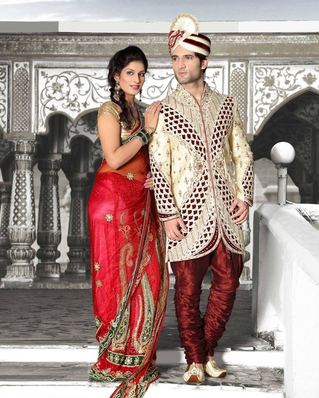 Pleasant Cream Color V Neck Royal Sherwani