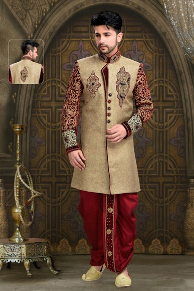 Gorgeous Attractive Look Brown Color Royal Sherwani