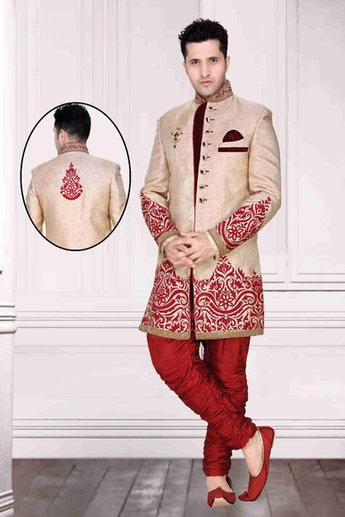 Striking Offbrown Color Royal Sherwani For Men
