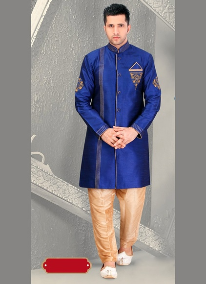 Dynamism Blue Royal Sherwani For Wedding