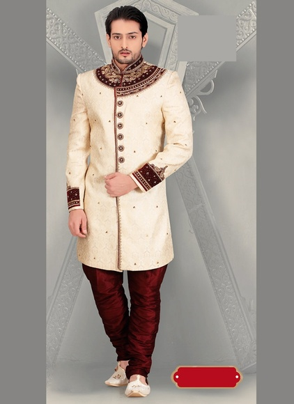Awaresome Attractive Looking Cream Color Royal Sherwani